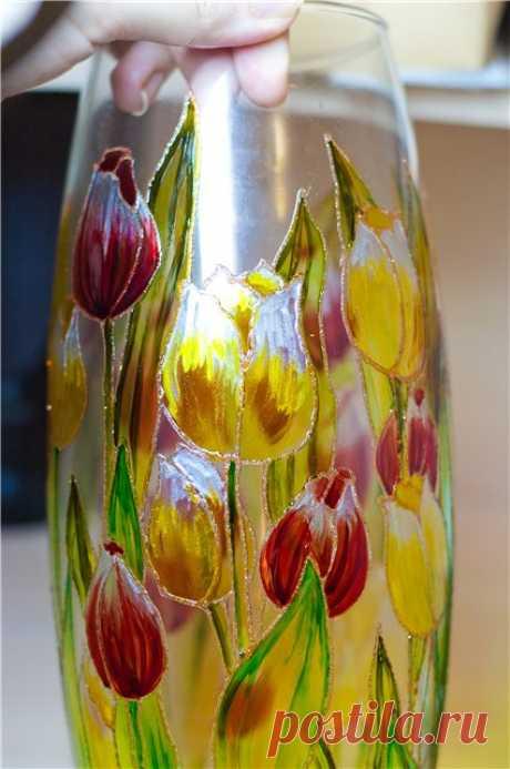 Роспись стеклянной вазы витражными красками — Сделай сам, идеи для творчества - DIY Ideas