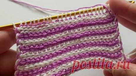 Тунисское вязание крючком. Получаются очень красивые и плотные изделия, хорошо держащие форму. Это вязание с двумя нитями пряжи одновременно, поэтому рекомендуется комбинировать несколько цветов, чтобы результат получился самым красивым.