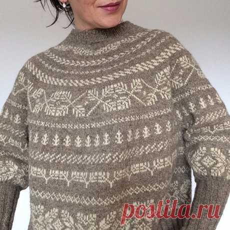 Только схемы узоров.Жаккардовый пуловер оверсайз Twigs. Модель от Junko Okamoto. Спицы