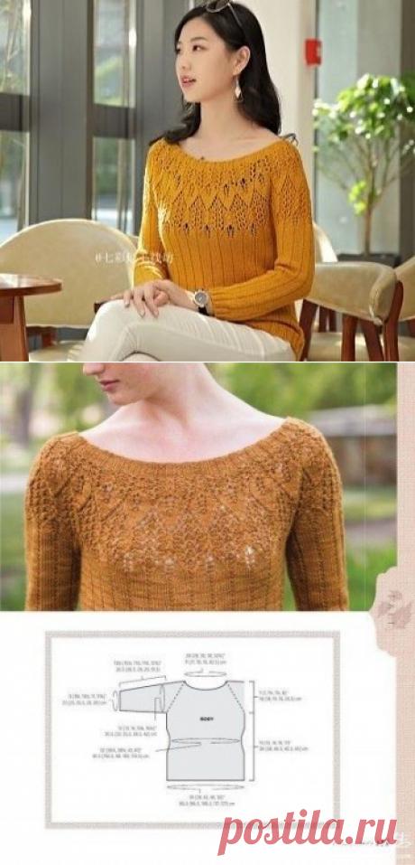 Женский пуловер Bayard с ажурной кокеткой