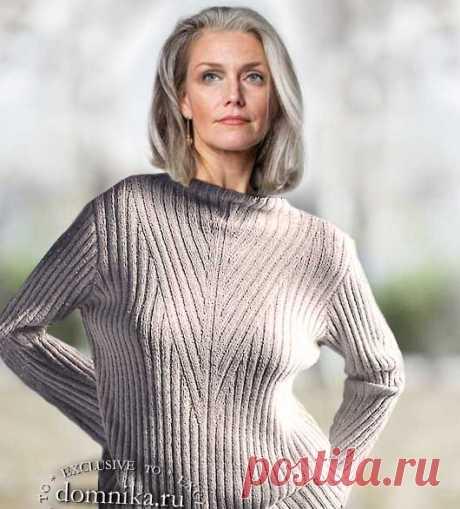 Стильный вязаный свитер для женщин 60 лет схемы спицами