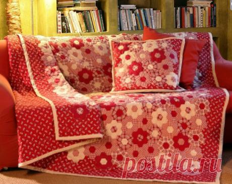 """Одеяло в технике лоскутного шитья """"Бабушкин цветник"""""""