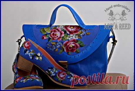 Купить Сумка и обувь вышивка ручная работа Розы , ландыши и незабудки - синий, цветочный