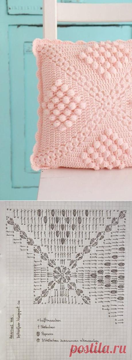 Узор для нежной интерьерной подушки из категории Интересные идеи – Вязаные идеи, идеи для вязания