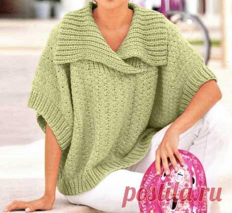 Простой способ связать красивый пуловер-пончо | Идеи рукоделия | Яндекс Дзен