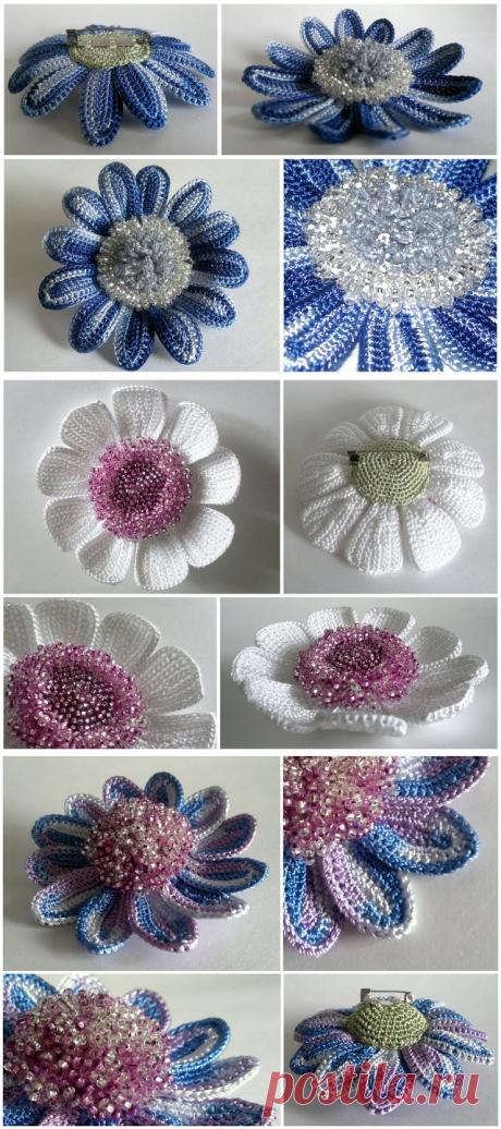 Вязаные цветочные броши с бисером