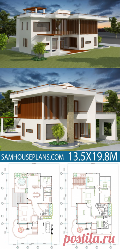 House Plan 13.5x19.8m with 4 Bedrooms - SamHousePlans