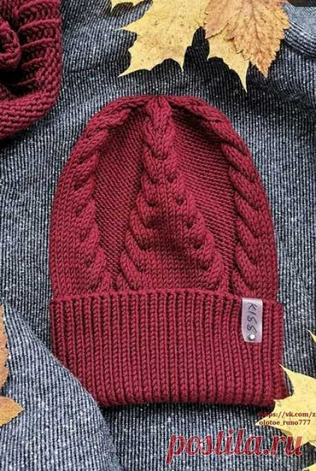 Шапка с косами.  #шапка_спицами@knit_man, #коса_спицами@knit_man  Пряжа BBB Full, 50г/90м , 2 - 3 моточка. Схему составила Людмила Правдина. Автор @leaf_hat  Нравится? Жмите репост