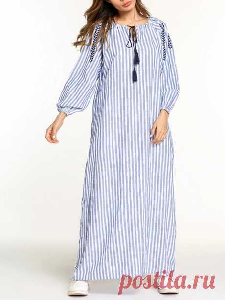 Women Stripe Print Long Sleeve Elegant Maxi Dresses - US$25.99