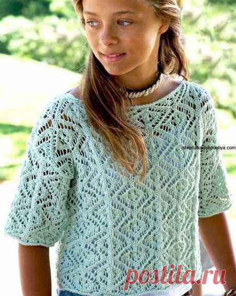 Пуловер прямоугольной формы для девочки спицами.