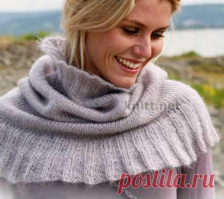 Тонкий шарф-снуд или манишка. Спицами. / knitt.net