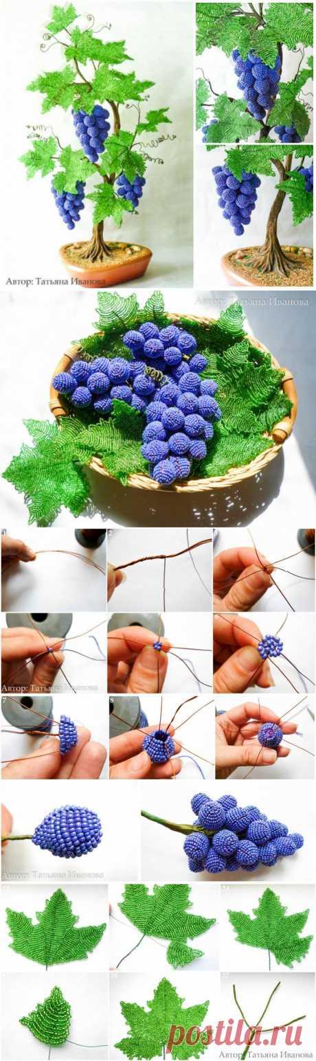 Виноградная лоза из бисера. Мастер-класс.