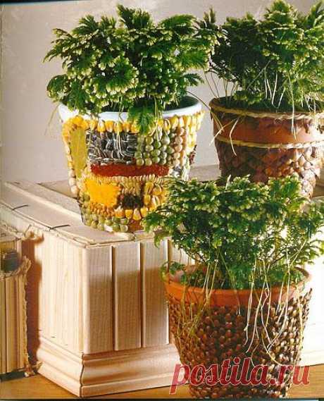 Декор цветочных горшков в интерьере.