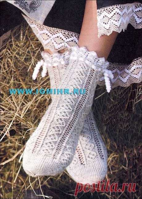 Мягкие ажурные носочки для дамских ножек. Спицы.