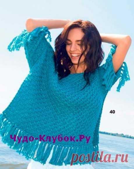 Бирюзовый пуловер-пончо вязаный спицами 1864 | ✺❁сайт ЧУДО-клубок ❣ ❂✺Ленточная пряжа бирюзового цвета, красивый структурный узор, оригинальный крой и супермодная отделка бахромой - у этого вязаного пуловера-пончо есть все ❂ ►►➤6 000 ✿моделей вязания ❣❣❣ 70 000 узоров►►Заходите❣❣ %