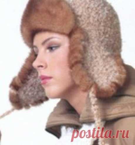 Шапка-ушанка с мехом. Вязание спицами