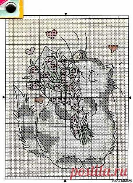 Схема для вышивки крестом: Кот с букетом - Животные - Каталог статей - Бесплатные схемы для вышивки крестом