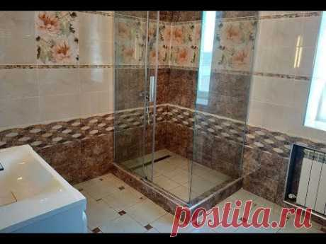 Укладка плитки в самодельной Душевой кабине, поддоне ! Своими руками и ремонт ванной комнаты