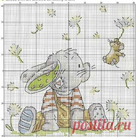 Схемы вышивки рождественского кролика / Вышивание крестиком - схемы вышивки для начинающих, картинки / КлуКлу. Рукоделие - бисероплетение, квиллинг, вышивка крестом, вязание