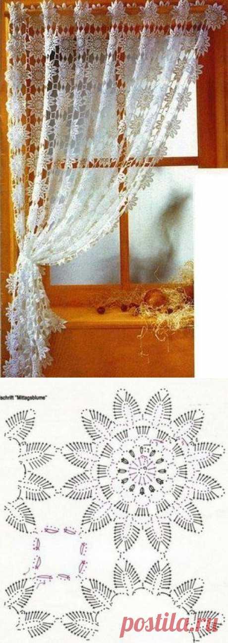 Вязаные шторы крючком. Связать шторы крючком схемы   Laboratory household