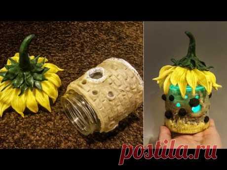 DIY Sunflower Fairy House Jar, works with Best Homemade Clay