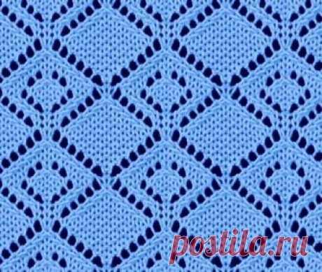 Вязание спицами ажурные ромбы - схема и описание | Ажурные Узоры