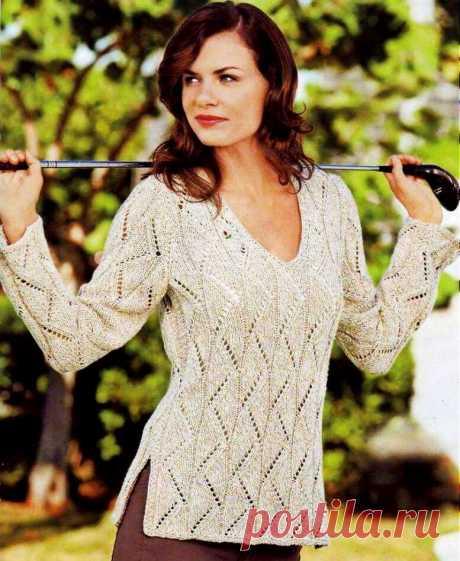 Весенние ажурные джемперы и пуловеры для женщин. 10 классных моделей спицами   Paradosik_Handmade   Яндекс Дзен