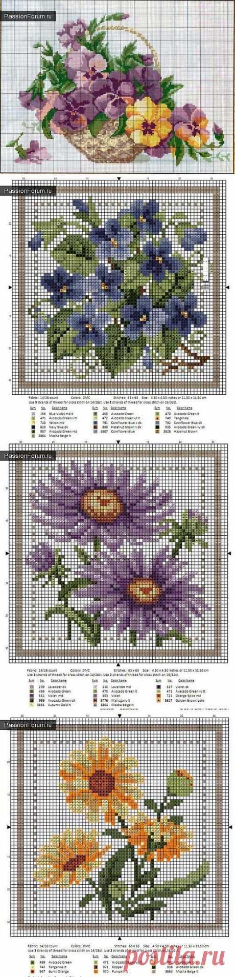 ЦВЕТОЧКИ. ЧАСТЬ 5 / Схемы вышивки крестиком / PassionForum - мастер-классы по рукоделию