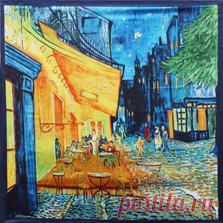 """Платок (90x90): Винсент ван Гог. Картина """"Ночная терраса кафе"""" (AliExpress)"""