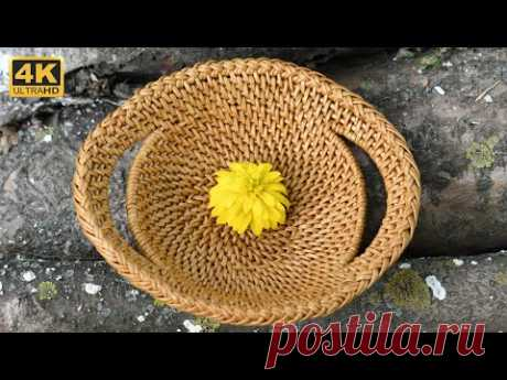 Плетение из корня. Тарелка с оригинальной загибкой