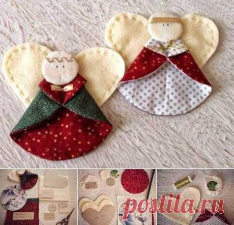 Ангелочки — простые и изящные идеи рождественских игрушек – Ярмарка Мастеров