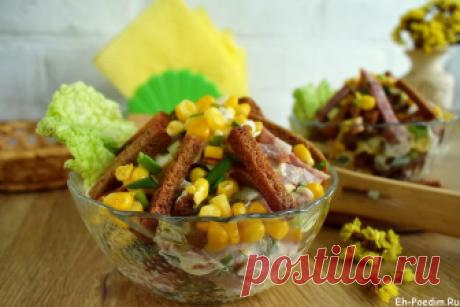 Салат с сухариками и колбасой рецепт с фото очень вкусный