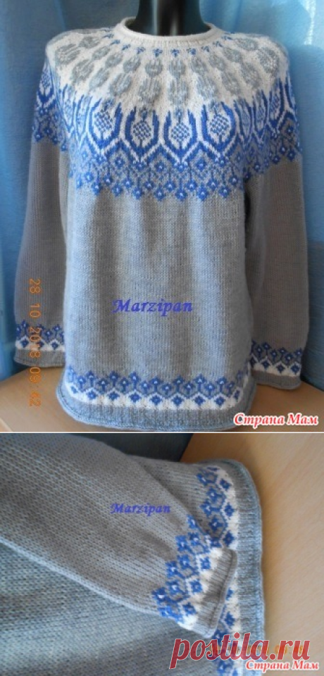. Джемпер с круглой жаккардовой кокеткой Frost Icy Flowers (Ледяные цветы) - Вязание - Страна Мам