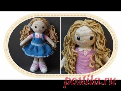 Вязаная кукла крючком Розали, часть 8 (Волосы, ч.1). Crochet doll Rosalie, part 8 (Hair, p.1).