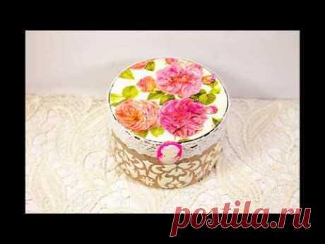 Decoupage lesson #35 Shabby chic jewelry box from recycled plastic cream jar ideas DIY tutorial