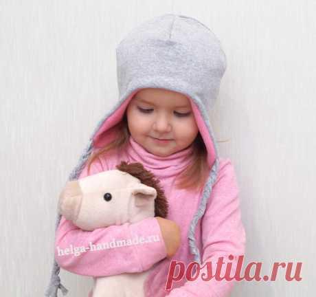 Детская двусторонняя шапочка с завязками своими руками.  #прошитье #выкройка шапка #дети