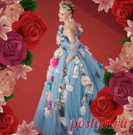 Шэрон Стоун в платье с бутонами роз в Каннах | Вокруг интернета | Яндекс Дзен