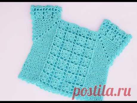 Blusa de niña tipo camiseta o top muy fácil #crochet #ganchillo