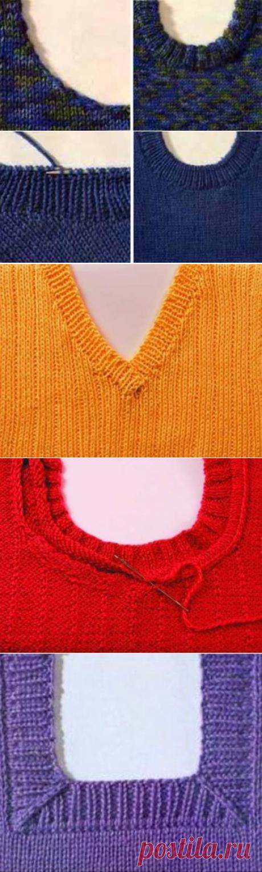 Вязание спицами горловины - 12 способов с описанием и видео мк