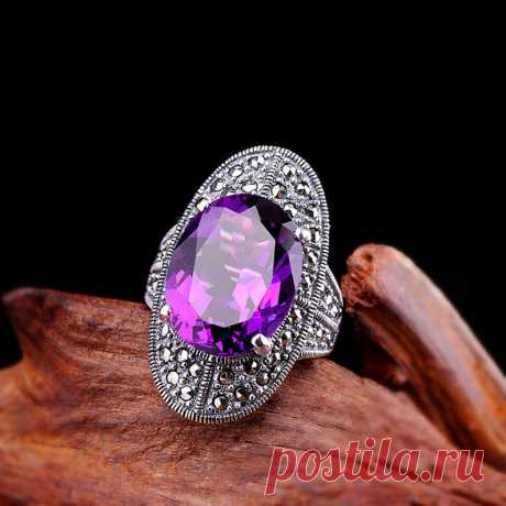 Natural Amethyst Gemstone Cutting Ring Sterling Silver Open   Etsy