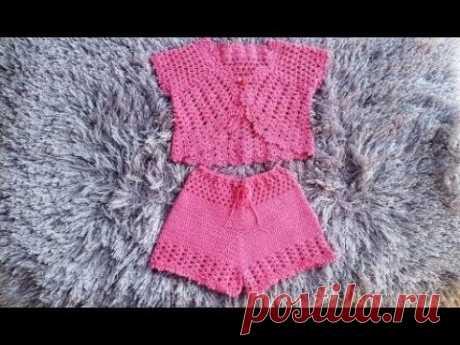 SHORTS DE CROCHE INFANTIL CHARME   3 A 4 ANOS COM TABELA DE MEDIDAS