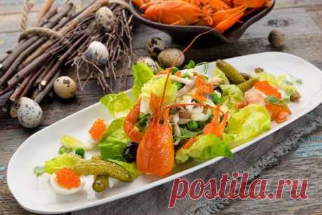Оливье с перепелками и раковыми шейками рецепт – салаты. «Еда»