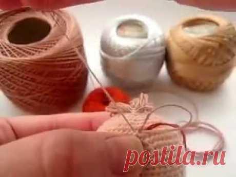 Como hacer los cabellos a la muñeca amigurumi. Un nuevo modo \/ Hair of amigurumi doll. New metod.