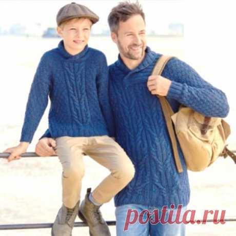 Вязание пуловеров для отца и сына в одном стиле