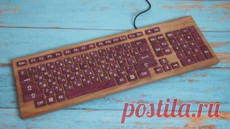 Самодельная клавиатура из дерева. Автор sergshobby на pikabu #diy #идея #дерево #клавиатура #мастер #мастерская #своимируками #сделайсам