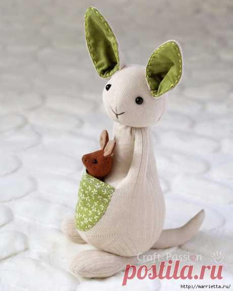 КЕНГУРУ с кенгуренком - изумительные игрушки из носков и фетра