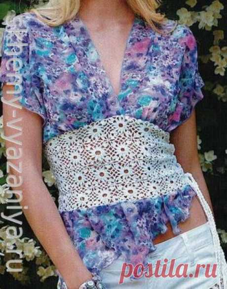 Блуза с мотивами из пышных столбиков. Комбинированное вязание