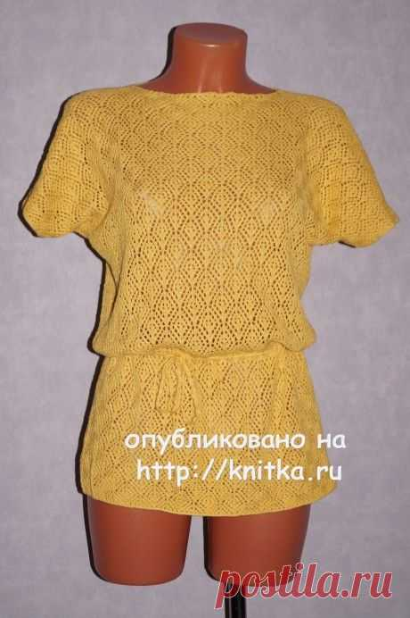 Желтая туника спицами