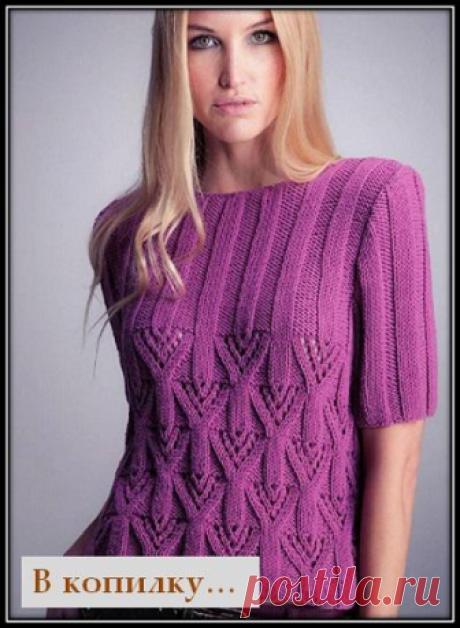 Красивые узоры спицами для кофточек, топов, пуловеров