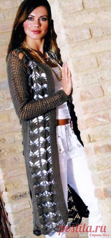 Удлиненный кардиган Ида для женщин с филейной сеткой из хлопка крючком – схема вязания с описанием